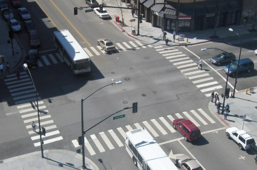 "Example of ""Zebra Stripes"" marking crosswalks"