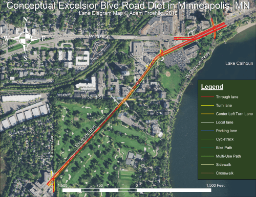 Lane diagram showing author's proposed road diet between France Ave and Lake Calhoun.