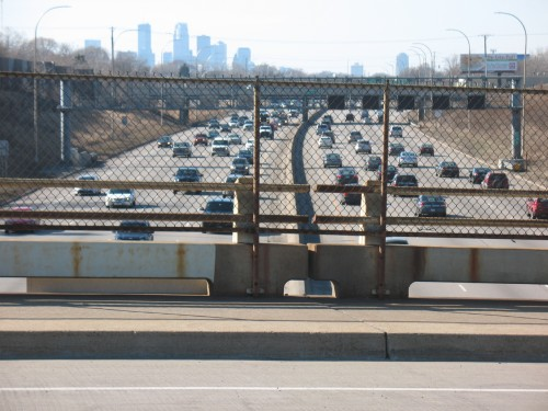 The view west from the Prior Avenue overpass