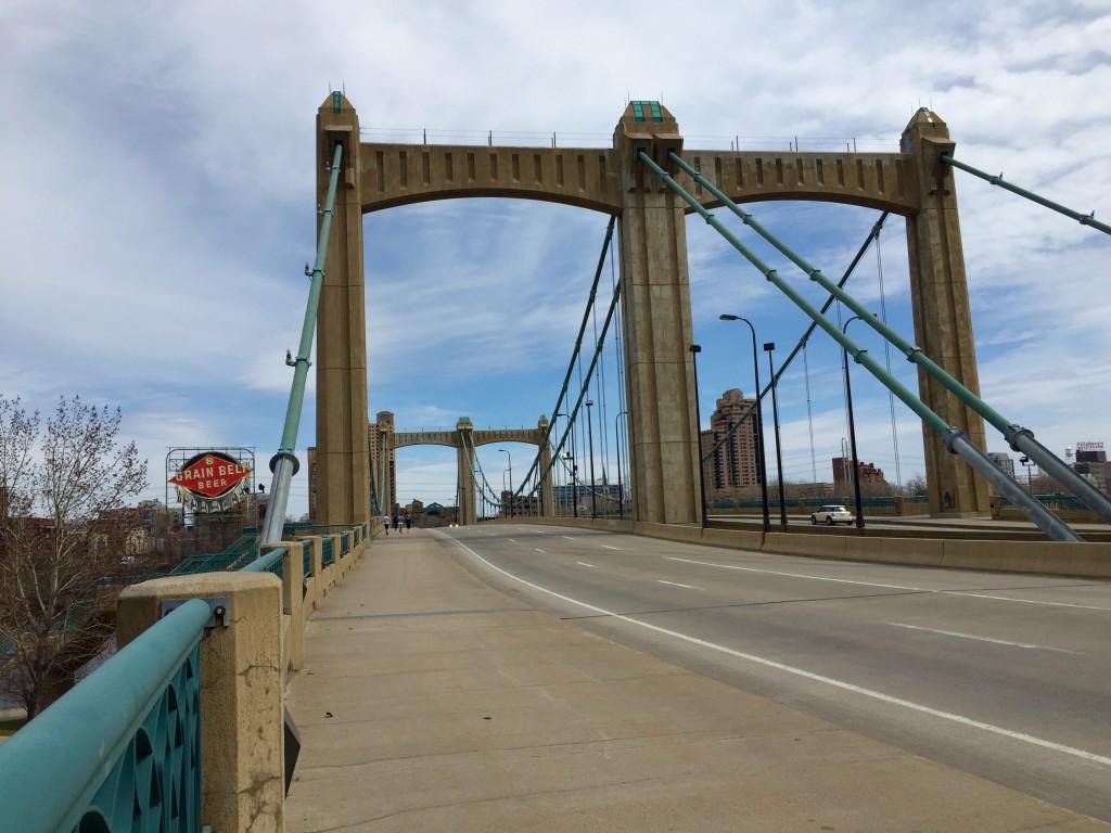 Grain Belt sign on Hennepin Avenue bridge