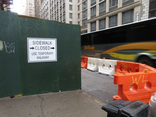 Temporary pedestrian accommodations adjacent to a closed sidewalk
