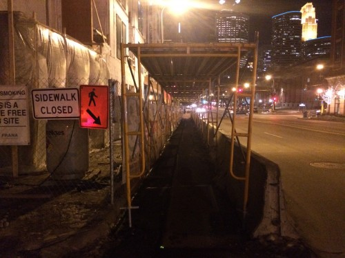 Protected pedestrian accommodations adjacent to a construction work zone