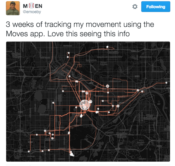 Tweet and map from @emoeby about Moves App
