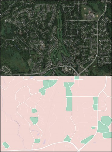 Comparing an aerial view of Eden Prairie to a map only showing city blocks.