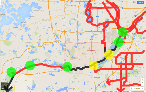 Minnesota River crossings (Green- Exisiting, Yellow- to be built), and select existing (red) and proposed (black) trails.