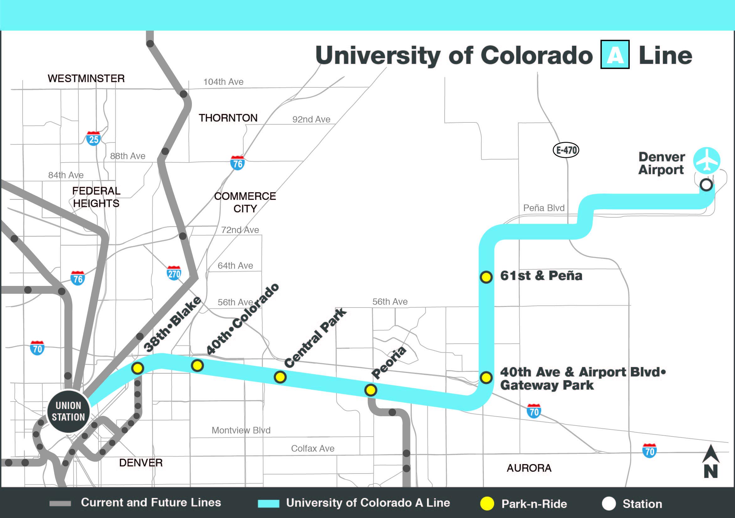 University of Colorado A Line Map