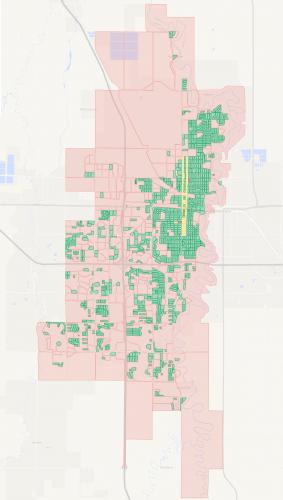 A map of city blocks in Fargo, North Dakota