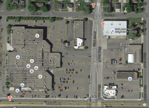 aerial view of 33rd and Division Street, Saint Cloud, MN