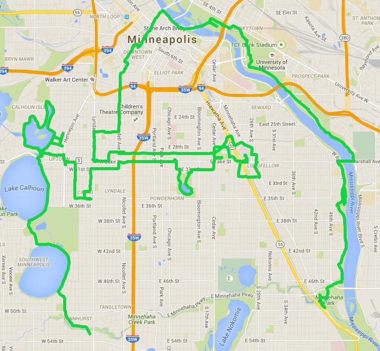 Minneapolis Saunter route map