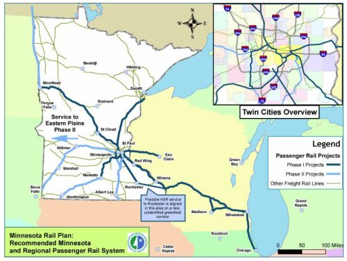 Map of possible passenger rail lines from the 2010 state rail plan