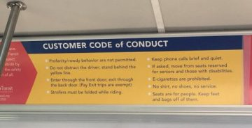 Customer Code of Conduct still says strollers should be folded while riding