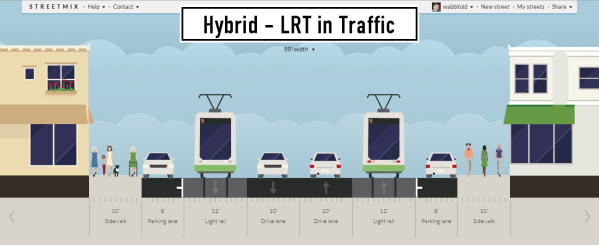 """A """"Hybrid"""" of LRT in traffic, from the Riverview Pre-Project Development Study (April 2016)."""