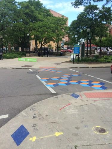 Playful Crosswalk. Harmonie Park in Background
