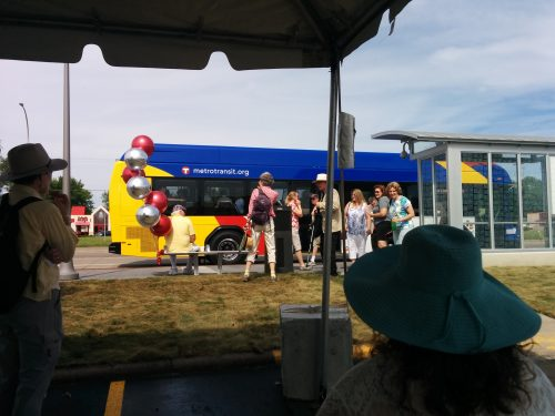 Ceremonial First Bus arriving at Snelling and County Road B station.