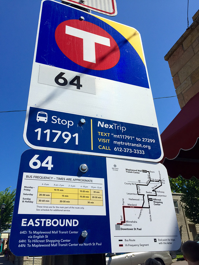 Metro Transit sign for Stop 11791 at Payne and Magnolia