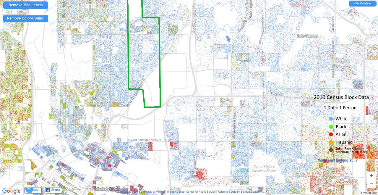 Map Monday: Northern Twin Cities Suburbs Racial Dot Map | streets.mn