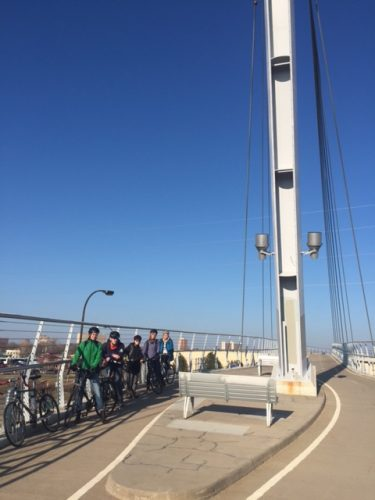 Macalester College student writers on Sabo Bridge