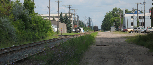 After crossing I-94 the Greenway would head towards Cleveland Avenue (the grade crossing in the distance)