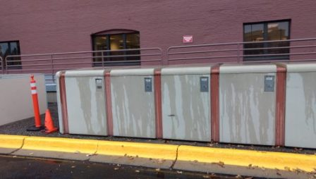 Bike lockers at the Department of Human Services (Photo Credit - Dana DeMaster)
