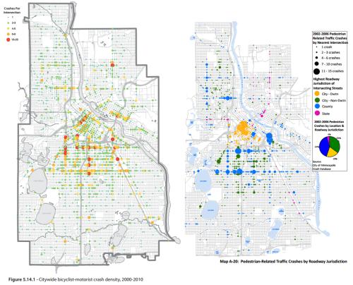 Minneapolis bike and pedestrian crash maps