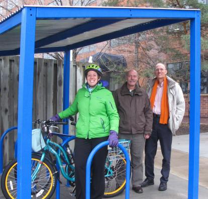 A picnic shelter for bicycles at the Pollution Control Agency. (Photo Credit - Melissa Wenzel)