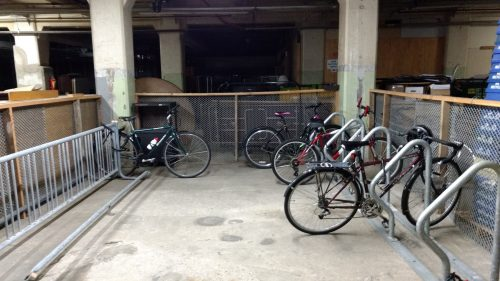 Secure, indoor parking on the loading dock. Notice which rack people are using. (Photo Credit - Dana DeMaster)