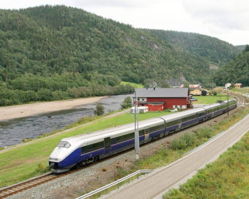 A Norwegian State Railways train near the town of Støren on the line to Trondheim.