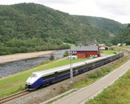 A Norwegian State Railways train near the town of Støren on the line to Trondheim.
