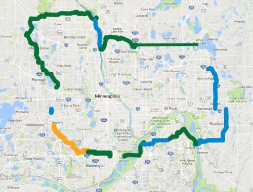 A collection of existing trails in the MSP area that could be a bicycle ring road