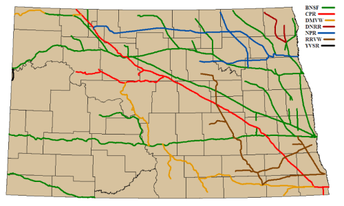 Map of freight rail lines in North Dakota, from the 2007 state rail plan