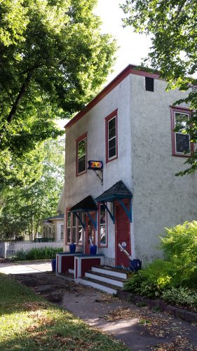 Illuminated, Stained-Glass House Number, 2309 3rd Street NE