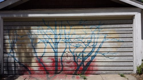 A Garage Door in a Style that Reminds Me of Graffiti Art