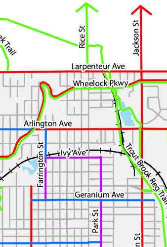The Saint Paul Bicycle Plan here. Note that not one of the connections across the railroad tracks currently exist.