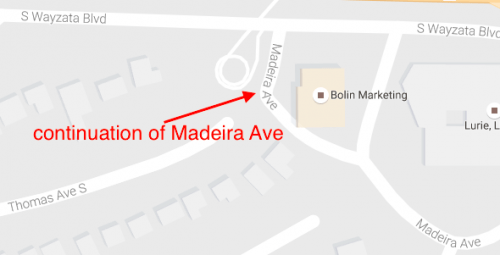 Google's Version: Madeira Ave Connecting to Wayzata Blvd