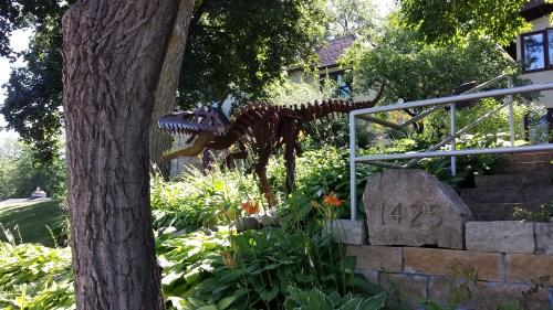 Dinosaur in the Garden (1425 Cedar Lake Parkway)