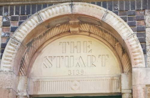 Geometric Stencil-Style Typeface on The Stuart (1929)