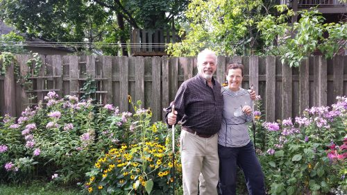 Jeremy Iggers and Carol Bouska in Their Garden