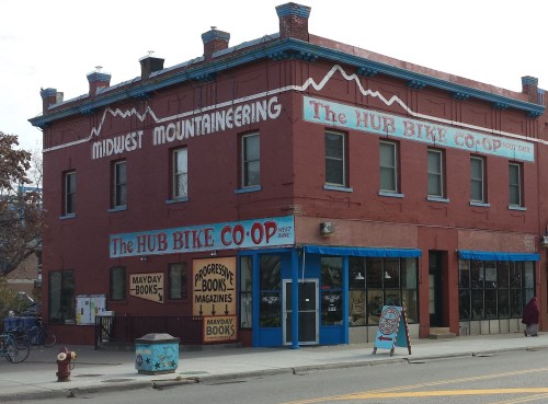 Hub Bike Co-Op and Mayday Books (301 Cedar Ave. S.)