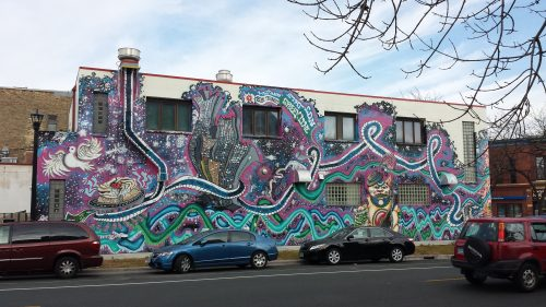Mural on 4th Street Side of Keefer Court, 326 Cedar Ave. S.