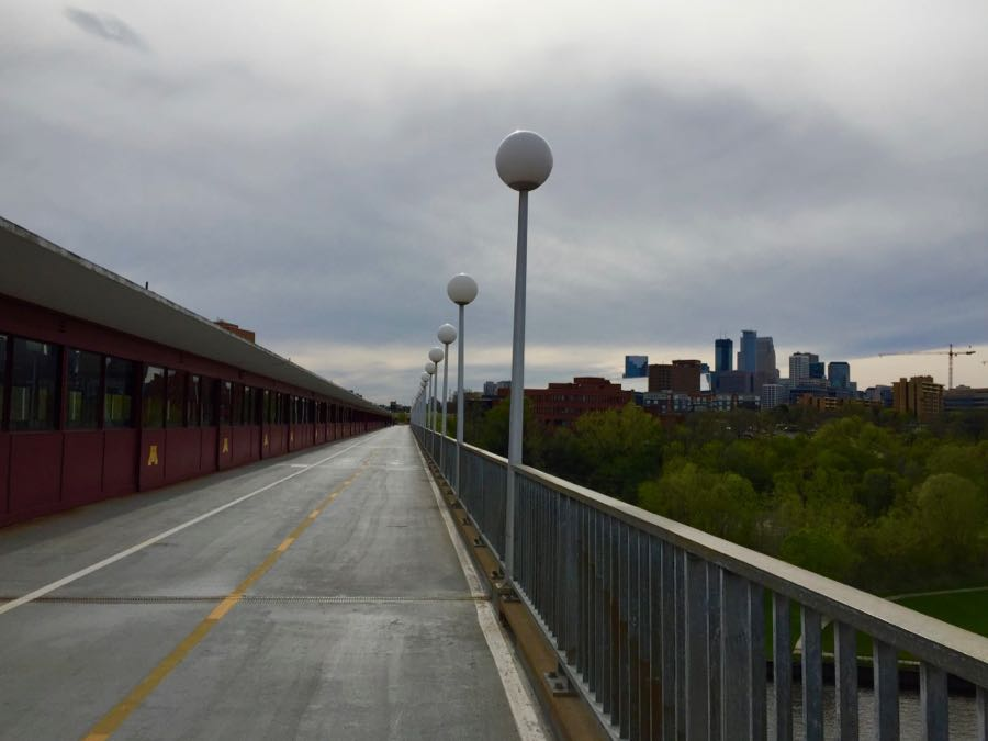 View of downtown Minneapolis from Washington Avenue Bridge