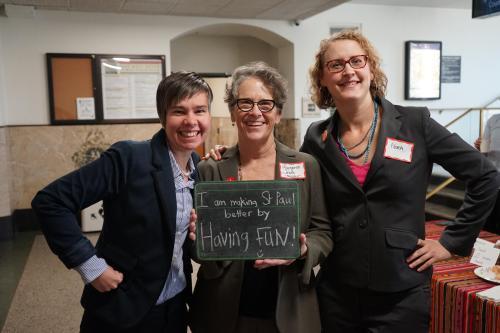 Margaret Jones (center), Nora Riemenschneider (right) and St. Paul Artist-in-Residence Amanda Lovely (left)