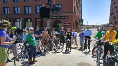 During the 2016 ride, state employees from MPCA, DNR and BWSR met up with riders from DOT and other agencies at the Capitol at CHS Field.