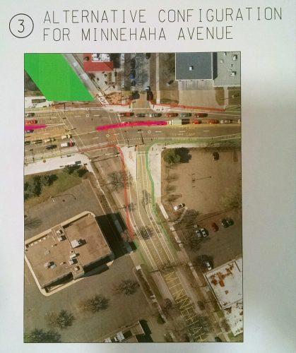 Rejected alternative Minnehaha Ave alignment