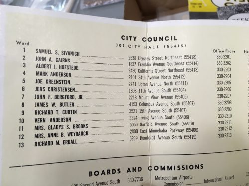 In 1969, City Council members in Minneapolis had their home addresses published in a directory. Women had to add the prefix denoting their marital status.