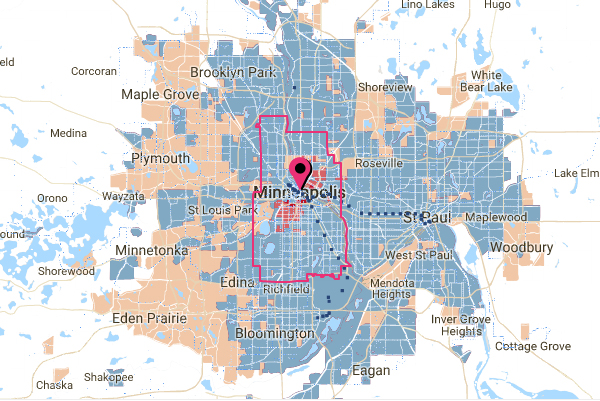 Hugo Minnesota Map.Map Monday Minneapolis Transit Gap Map Streets Mn