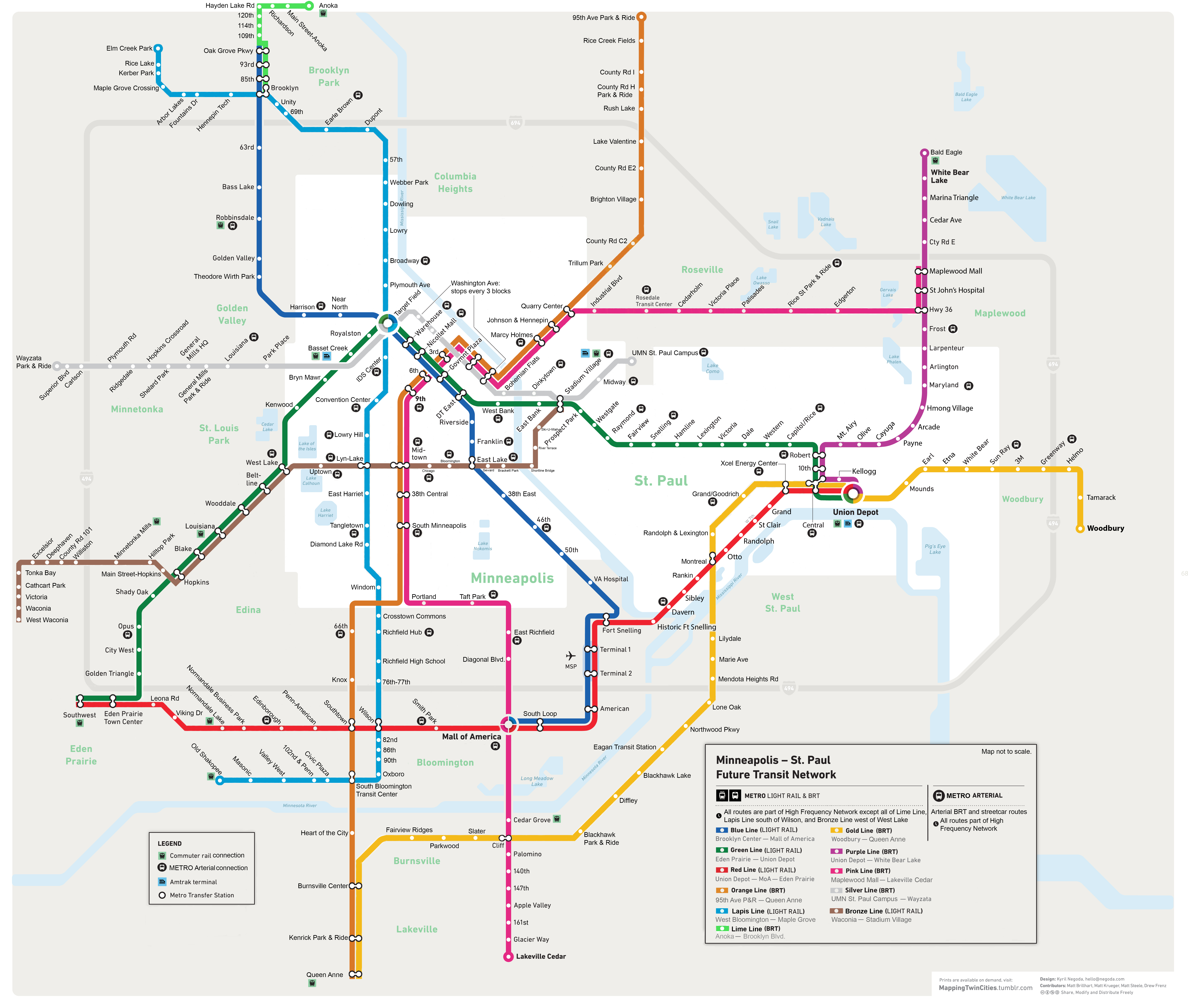 Minneapolis Subway Map.The Laundry List Of Rapid Transit Routes Streets Mn