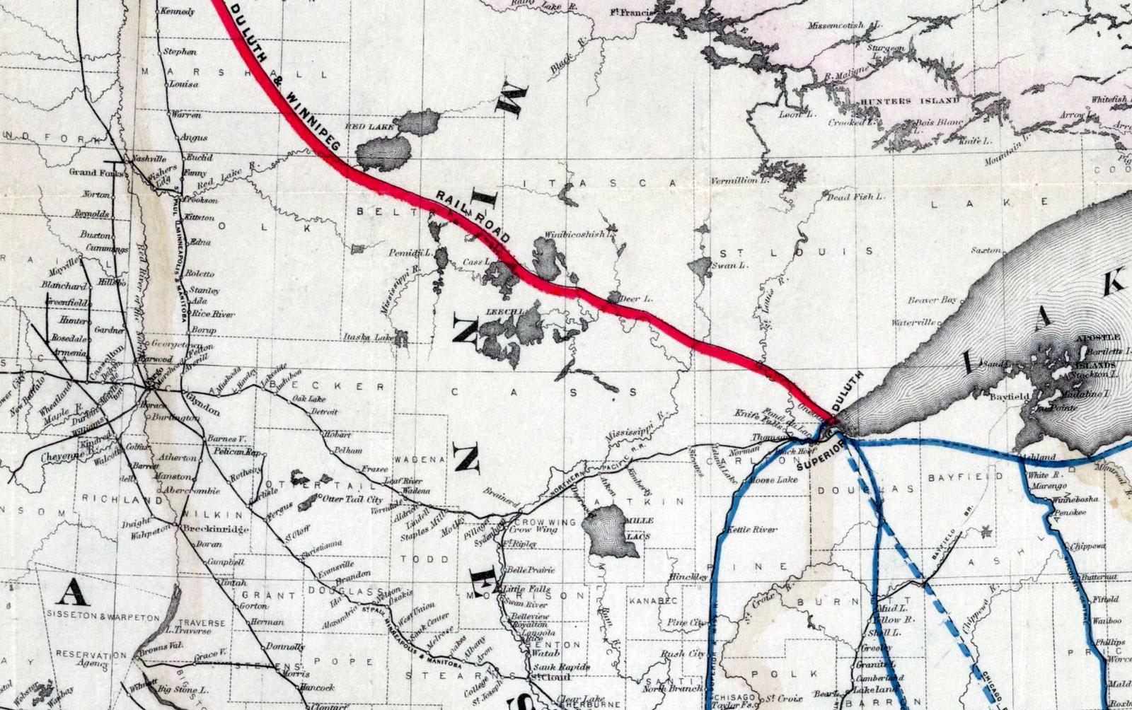 Map Monday: Duluth & Winnipeg Railroad Map, c. 1881 | streets.mn