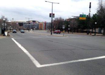 A dangerous crosswalk in Saint Paul on Kellogg Boulevard.