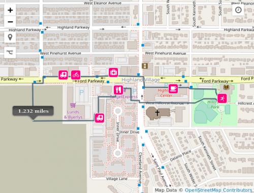 Map of walking route around Highland Village