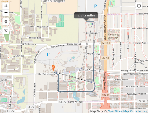 Map of walking route through the State Fair